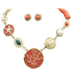 Pink Tone Coral Beachy Necklace Earrings Set